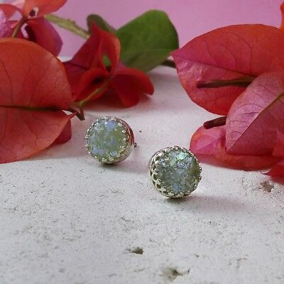 SPIRA Handcrafted Ancient Green Roman Glass 925 Sterling Silver Stud Earrings