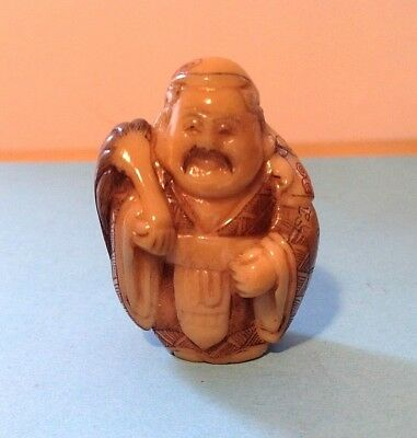 Hand Carved  Netsuke, Standing wise man Scribe Vintage antique style signed