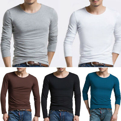 Men's T-Shirt Casual Slim Fit Muscle Tee Long Sleeve Plain Crew Neck Shirts Tops