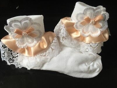 Girls fancy peach color party  frilly socks with lace and ribbon trim with bow s
