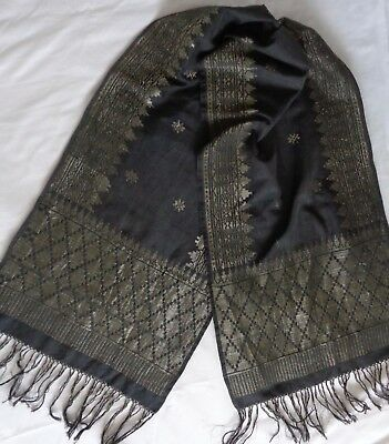 Indonesian Sonket Sash Or Table Runner, Gold Wrapped Thread Hand Woven Vintage