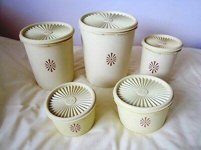 Tupperware 70s Vintage Retro Yellow Harvest Fan Lid Storage Containers Set Of 5