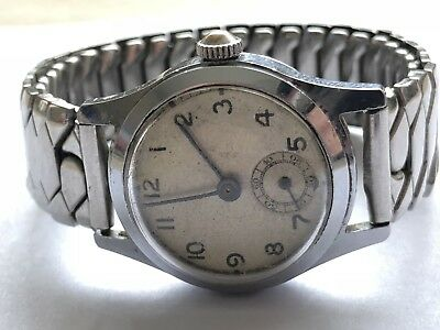 vintage Gents Unbranded Military WW2 Wind Up working mens Swiss Made Wrist watch