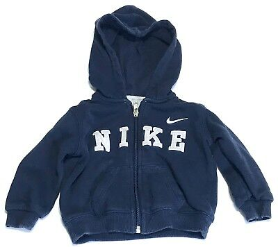 Nike Baby Boy Zip Up Hoodie Size 12 months 12M Navy Blue Fleece Gray Stitched