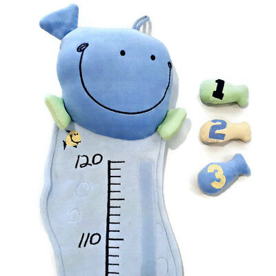 Plush Whale Hanging Growth Chart Blue Fish Sea Ocean Baby Boy Centimetre Nursery