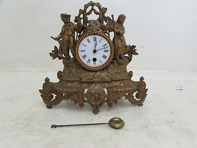 Antique Gilt Metal French Mantel Clock Requires Suspension Spring