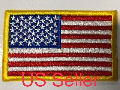 USA American Flag Gold Border Embroidered Sew On / Iron On 2x3 Patch Hat Emblem