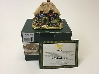 HTF Lilliput Lane April Cottage L3020,  With Box and Deeds.  2007 Anniversary