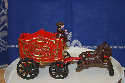 Vintage Cast Iron Horse Drawn Circus Wagon with Driver