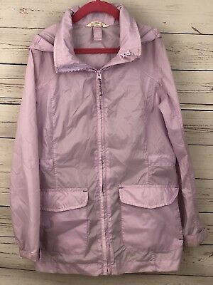 Lands' End Kids Girls Rain Coat Jacket Sz M 7/8 Unlined Hooded Nylon Purple A30