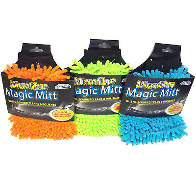 Microfibre Magic Mitt Car Wash Cleaning Glove Dusts Scrubs Polishes Super Absorb