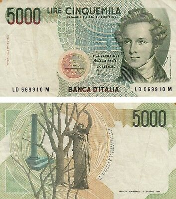 Italy 5000 Lire Bellini Currency banknote 1985 FINE ++ !! Free Shipping !!
