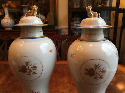 A Pair Chinese Kangxi Imari Porcelain Jars with Lids and Wooden Stands.