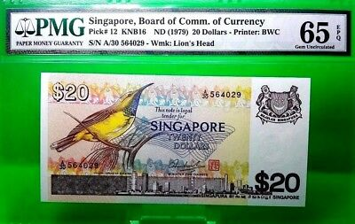 Money Singapore $20 Dollars Nd 1979 Board Of Comm. Of Currency Pick # 12 Gem Unc