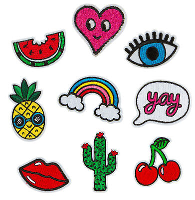 Iron On Patches Pack Set Sew On Fabric Retro Vintage Fashion Applique Transfers