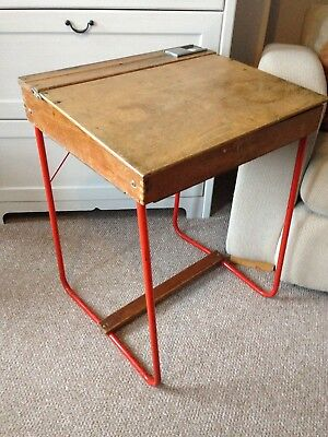 Vintage 1950's Triang Childrens Wooden School Desk with Red Tube Metal Legs