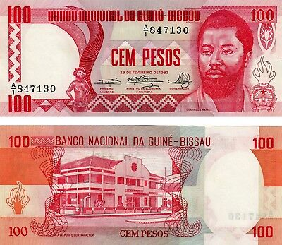 Uncirculated Guinea Bissau 100 Pesos Currency Banknote 1983 Unc !!!
