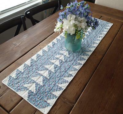 Vintage 30s Flying Geese Blue & White Farmhouse Table or Doll Quilt RUNNER 40x12
