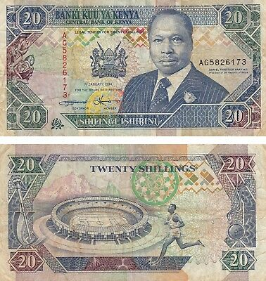 KENYA * 20 SHILLINGS CURRENCY BANKNOTE 1994 * FINE !! Free Shipping!!