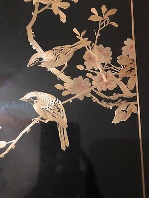 Vintage Black Silk Wheat Stalk Sparrows Bamboo Picture Hand Made China Art
