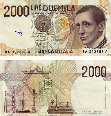 Italy 2000 Lire Marconi Currency Banknote 1990!! Free Shipping !!