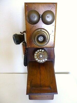 Vintage Wooden & Brass Wall Mount Telephone