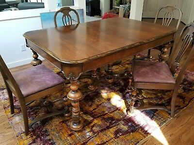 1920's Jacobean Style Dining Room Table with Six Chairs and Sideboard