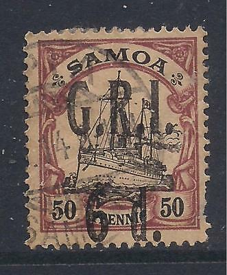 SAMOA  1914 surch  6d on 50pf black & purple on buff  SG108  FU
