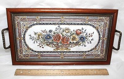 Beautiful Floral Single Ceramic Tile Serving Tray Wood Frame Brass Handles