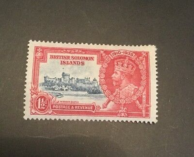 British Solomon Islands 1935 KGV Silver Jubilee Sg 53 1,1/2d red & blue MH