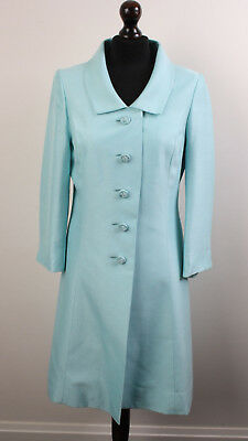 1960's Haute Couture Peggy French Mint Green Duster Coat Silk Wool Fabric UK10