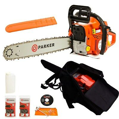 Parker Petrol Chainsaw Cutting Saw Hedge Trimmer Garden Oil Tool Complete Kit