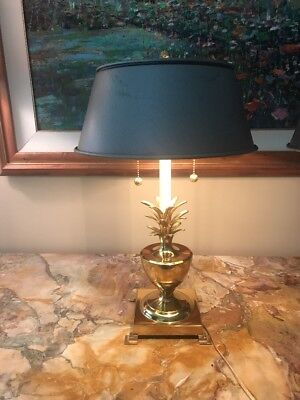 Vintage Bombay Co Pineapple Solid Brass Table Lamp Metal Shade