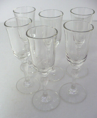 "6 Tiny 4"" High Clear Antique Art Deco Hand Blown Cordial Liquor Glasses"