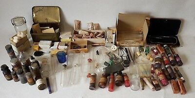 Lot of Antique Doctors Equipment Bottles Medicine Apothecary Items VERY COOL