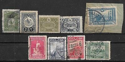 1905-1930 TURKEY 9 USED STAMPS (Michel # 125C,163Ic,212,242,235,845,849,850,896)