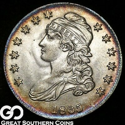 1835 Capped Bust Half Dollar, Very Nice Choice BU++, Cobalt Blue Peripherals!