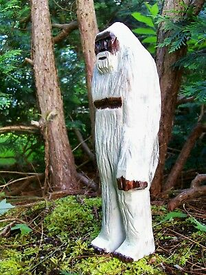 """"""" ALBINO BIGFOOT/YETI"""" hand carved/painted wood fig. FREE SHIPPING!"""