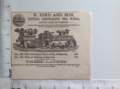 Nottingham, H. Hind and Son, 1877 Original Antique Advert, Engineering