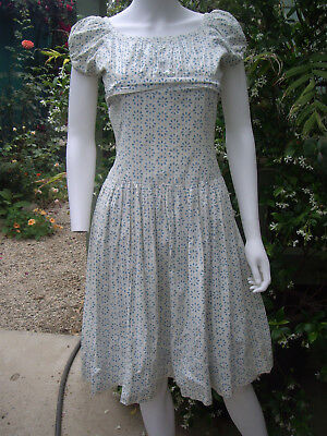 1950s Vintage COTTON SUNDRESS WHITE /BLUE FIT AND FLARE SWEET COUNTRY STYLE