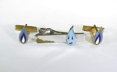 Natural Gas Handy Flame Advertisement Cufflinks and Tie Clip