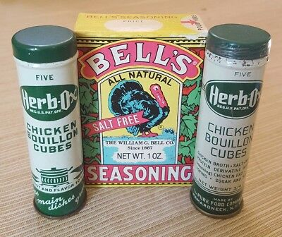 Bell's Seasoning Herb-Ox Chicken Vintage Kitchen Advertising Tins Spices Lot