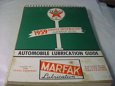 vintage 1959 texaco automobile lubrication guide-- gas &oil complete 205 pages