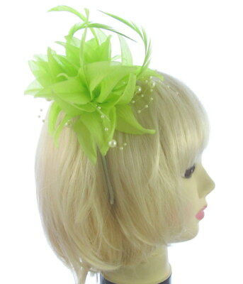 Green fascinator with pearls headband, Ascot races, ladies day,prom