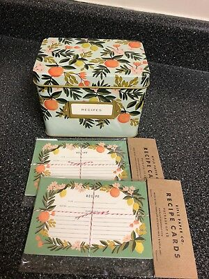 NEW Rifle Paper  TIN Recipe Box - Citrus Floral + 2 pks of Sealed Blank cards