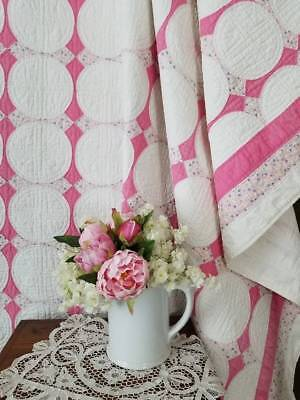 So Romantic So Pretty Vintage 30s Pink & White Hummingbird Quilt 80x69