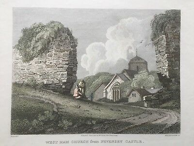 1810 Antique print; Westham Church from Pevensey Castle, Sussex after Prout