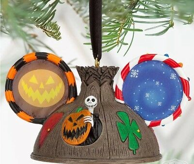 disney jack skellington ear hat light up tree christmas ornament new with tags