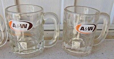 """Vintage Lot of 2 A&W Heavy Bubble Glass Root Beer, Soda Mug 4 1/4"""""""