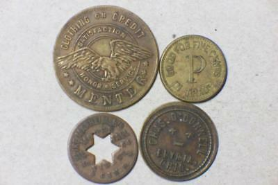FOUR VINTAGE TRADE TOKENS FROM OHIO #5354 glb